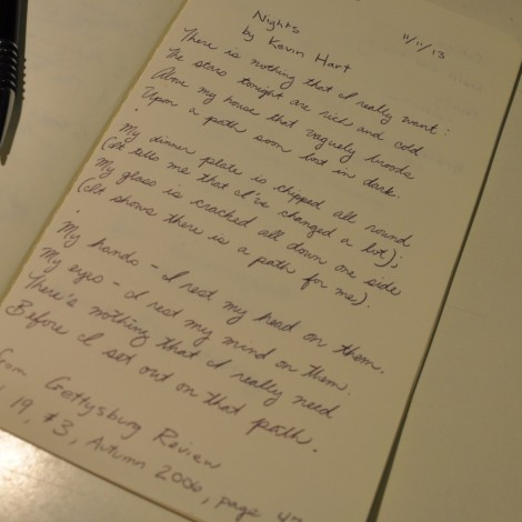 Nights by Kevin Hart handwritten by Marie Brown